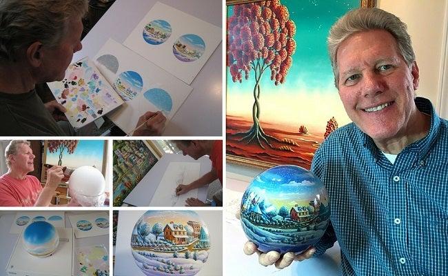 Andy Making MOVA Globe Art
