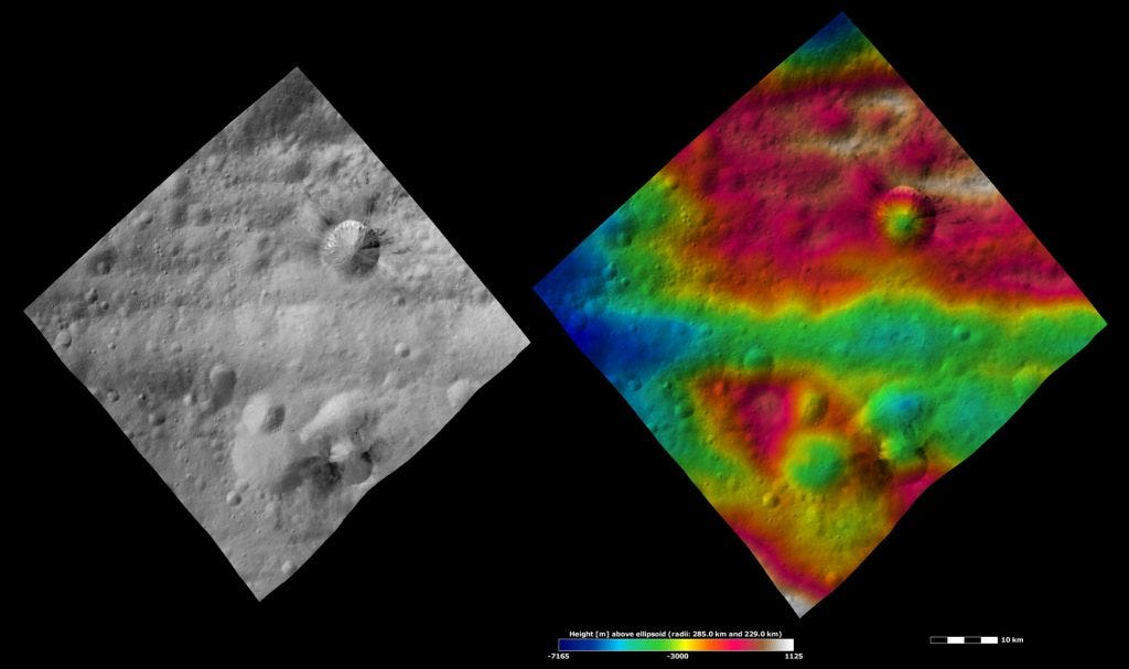 Divalia Fossa and Rubria and Occia Craters, Apparent Brightness and Topography Images Credit: NASA