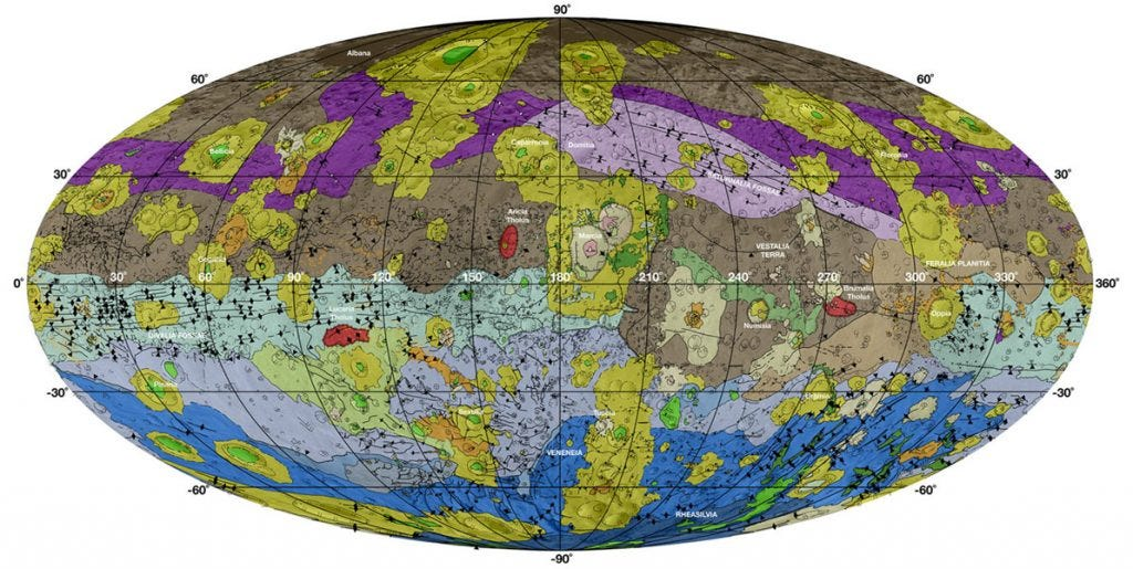 Geological Map of Vesta Credit: NASA