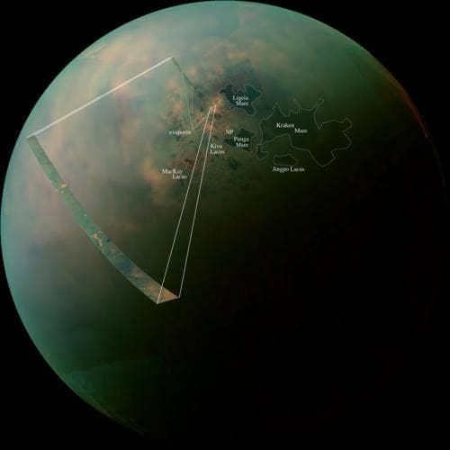 Titan's Northern Lakes: Salt Flats? (Annotated version) Photo Credit: NASA