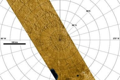 Radar Images Titan's South Pole Photo Credit: NASA