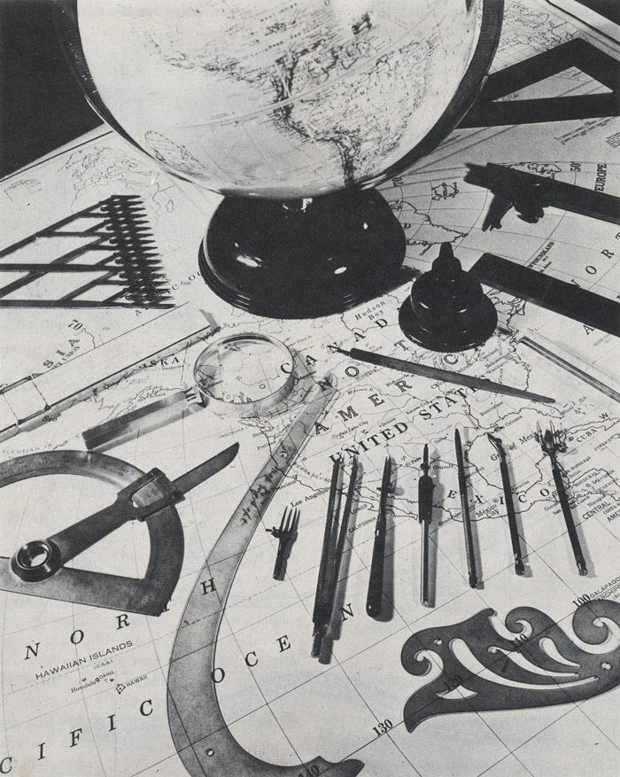 Traditional tools Denis worked with when he studied cartography
