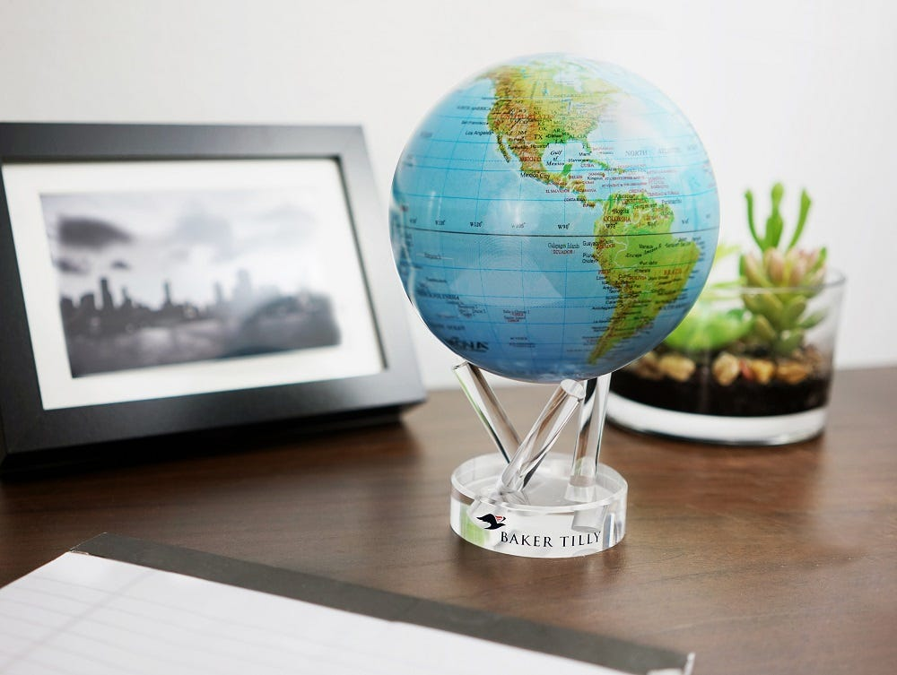Relief with gloss finish mova globe