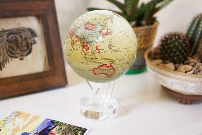 antique beige globe graduation gift