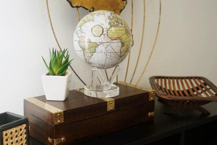 antique terrestrial white mova globe