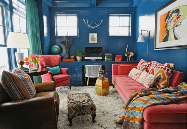 colorful-eclectic-living-room-with-pantone-dusty-cedar-upholstery-faded-red-min