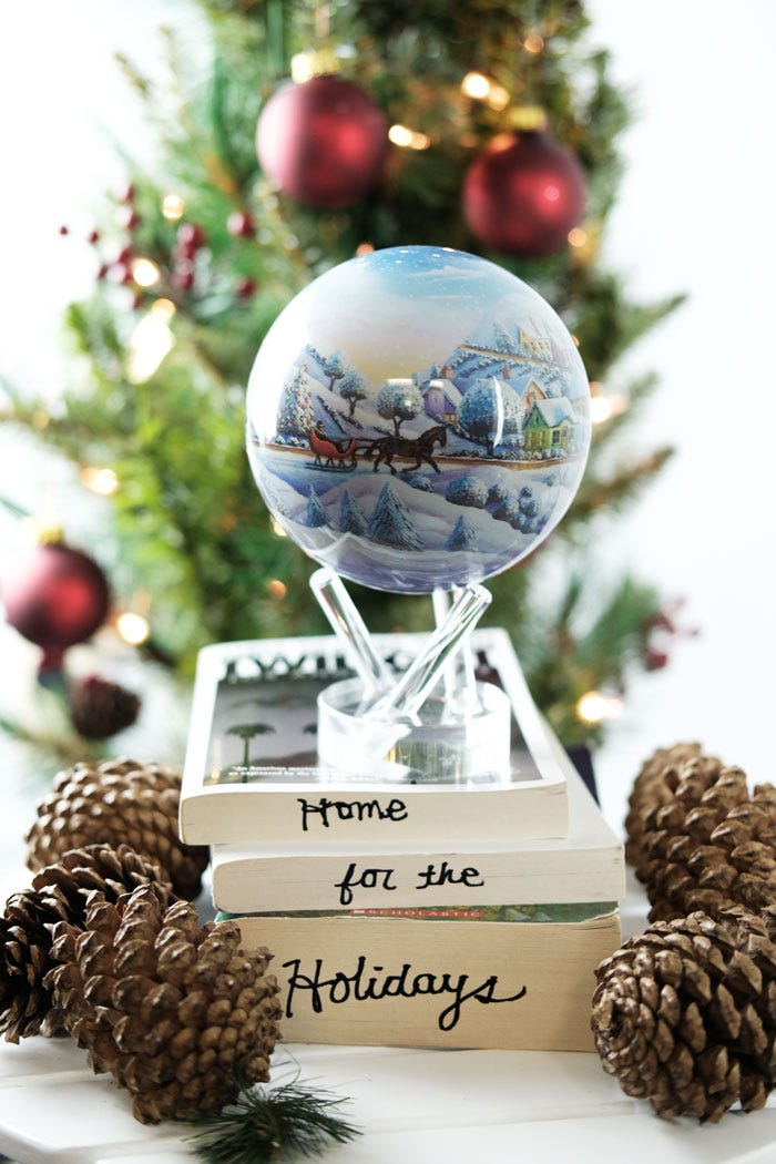 Home for the holidays MOVA globe with christmas decor