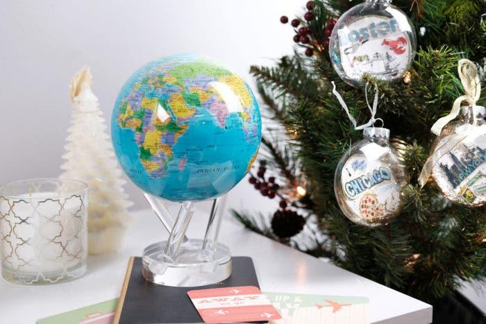Blue political map MOVA globe with christmas decor