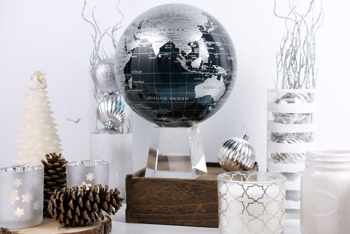 Black and silver MOVA globe with christmas decor