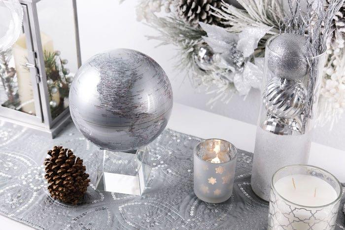 Silver MOVA globe with christmas decor
