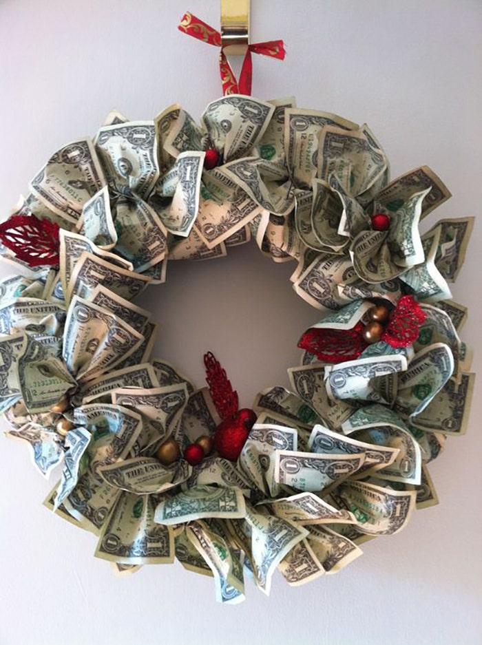 wreath of money