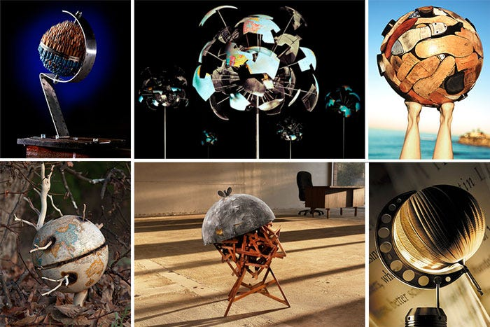 A collage of some of the globes in the 100 Worlds Project