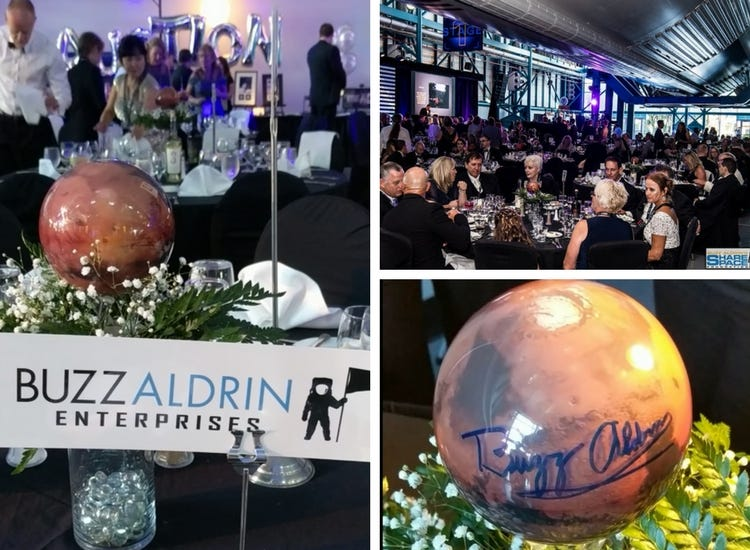 Photos of  Bullz Aldrin's Sharespace Gala and signed Mars MOVA Globes