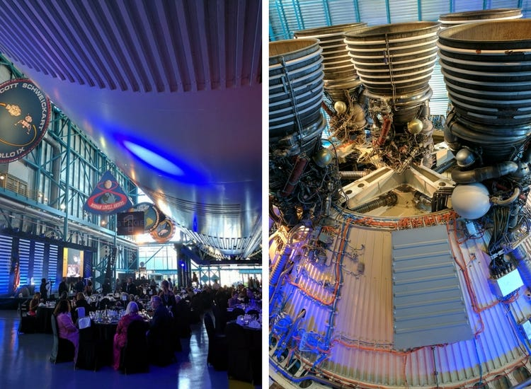 Images of Saturn V and the gala