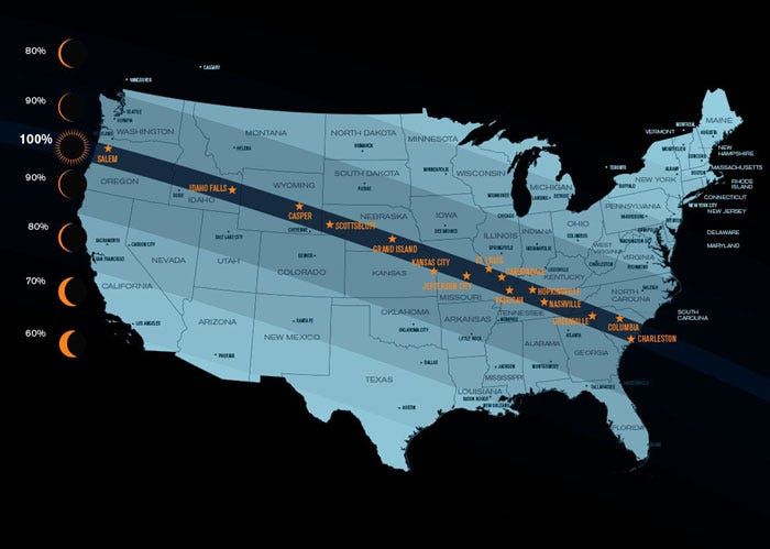 Map showing the solar eclipse path across the USA