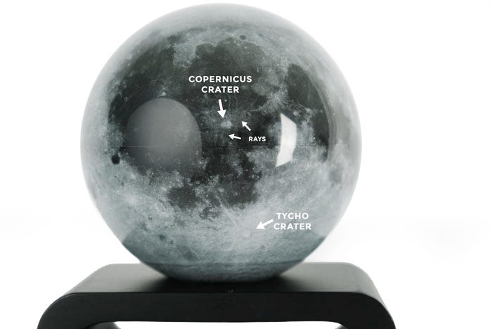 Moon MOVA Globe displaying the copernicus crater and tycho crater