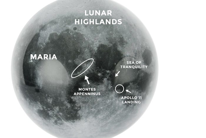 Moon MOVA Globe displaying lunar highlands and other geographical features