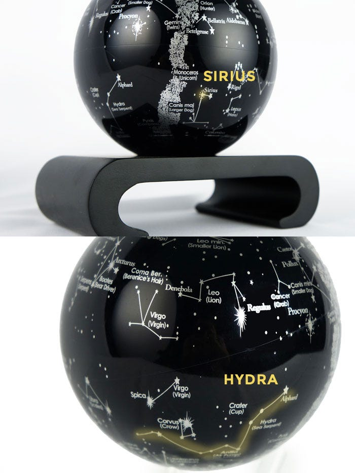 Constellations MOVA Globe with Sirius and Hydra highlighted