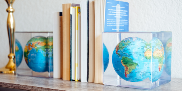Relief map mova globe cubes as bookends