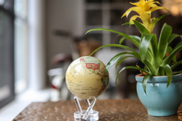 political map yellow mova globe with nature