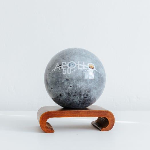 "Apollo Moon MOVA Globe 4.5"" with Arched Base Dark Wood"