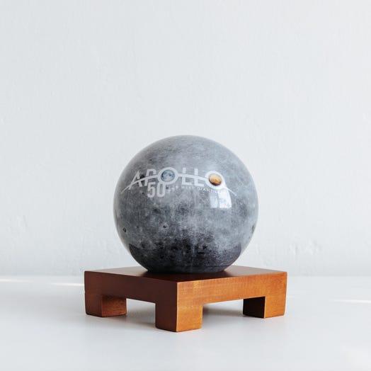 "Apollo Moon MOVA Globe 4.5"" with Square Base Dark Wood"