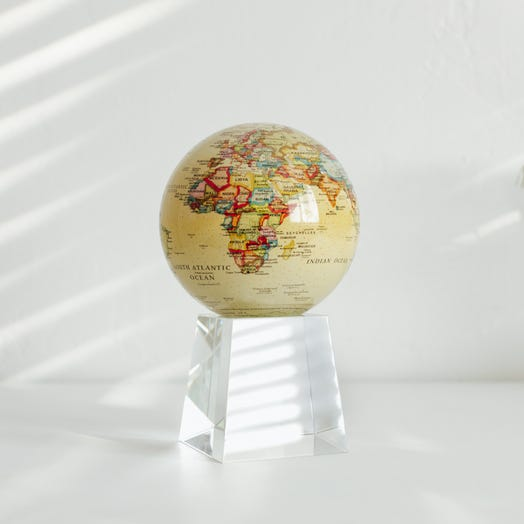 "Political Map Yellow MOVA Globe 4.5"" with Crystal Base Tall"