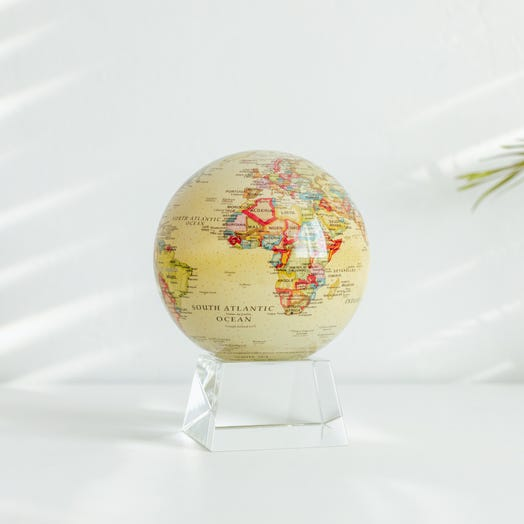 "Political Map Yellow MOVA Globe 4.5"" with Crystal Base"
