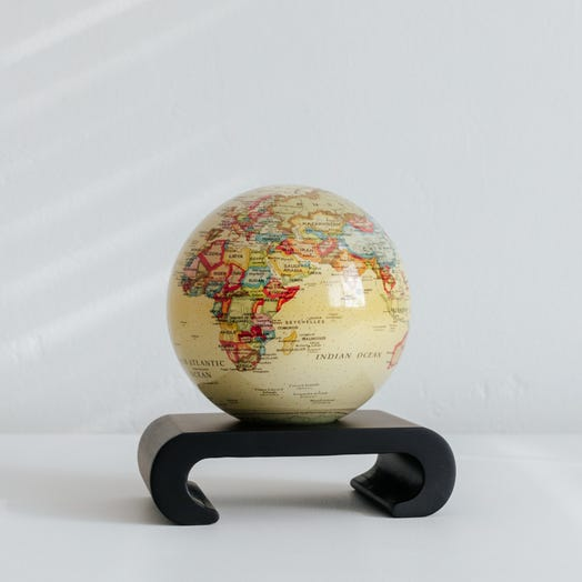 "Political Map Yellow MOVA Globe 4.5"" with Arched Base Black"