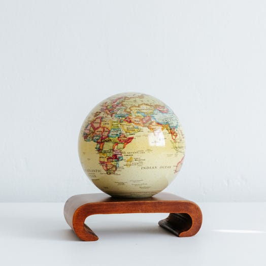 "Political Map Yellow MOVA Globe 4.5"" with Arched Base Dark Wood"