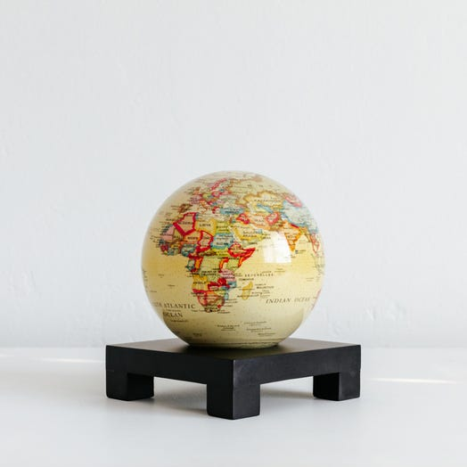 "Political Map Yellow MOVA Globe 4.5"" with Square Base Black"