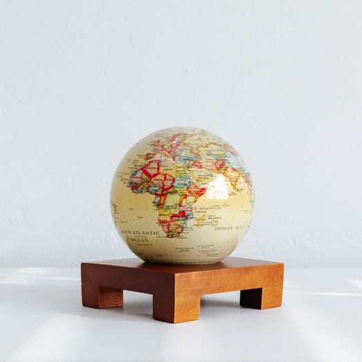 "Political Map Yellow MOVA Globe 4.5"" with Square Base Dark Wood"