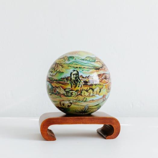 "Black Hills Termesphere MOVA Globe 4.5"" with Arched Base Dark Wood"