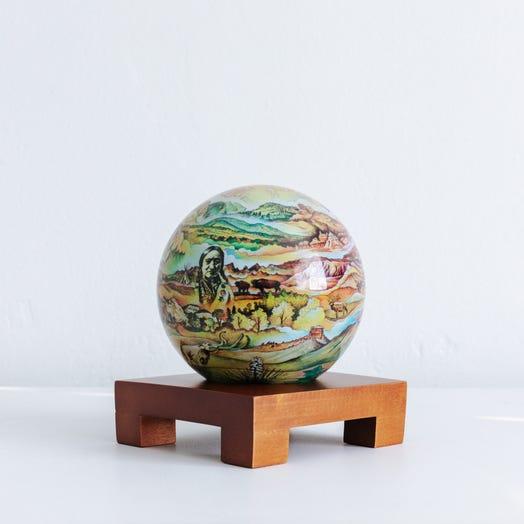 "Black Hills Termesphere MOVA Globe 4.5"" with Square Base Dark Wood"
