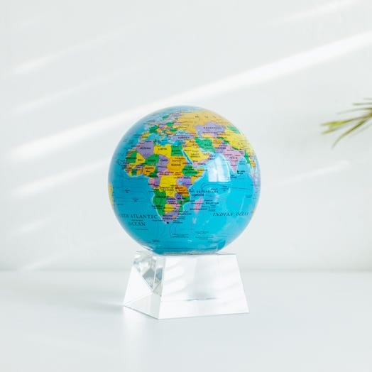 "Political Map Blue MOVA Globe 4.5"" with Crystal Base"
