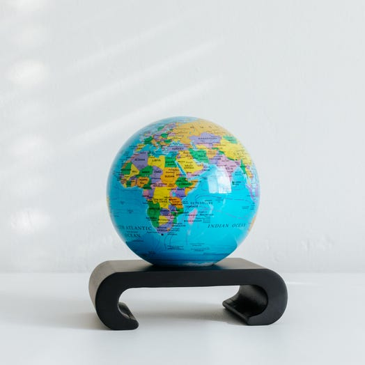 "Political Map Blue MOVA Globe 4.5"" with Arched Base Black"