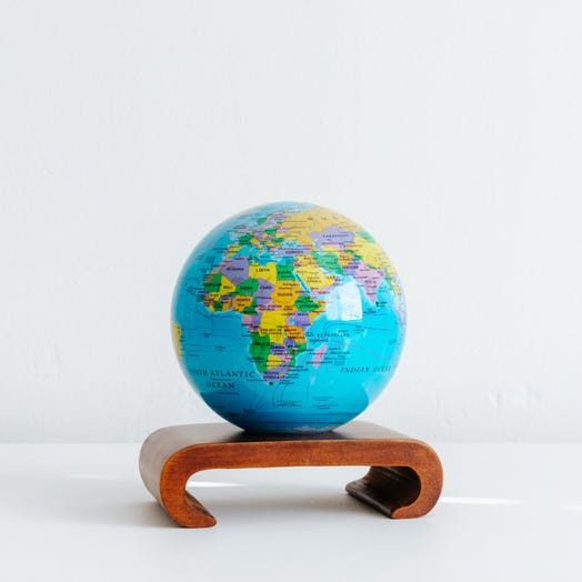 "Political Map Blue MOVA Globe 4.5"" with Arched Base Dark Wood"