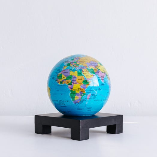 "Political Map Blue MOVA Globe 4.5"" with Square Base Black"