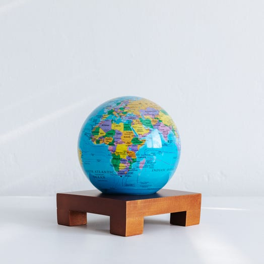 "Political Map Blue MOVA Globe 4.5"" with Square Base Dark Wood"
