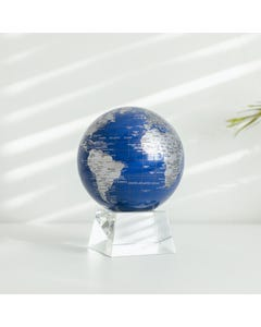 """Blue and Silver MOVA Globe 4.5"""" with Crystal Base"""