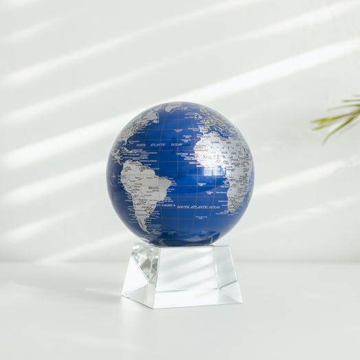 "Blue and Silver MOVA Globe 4.5"" with Crystal Base"