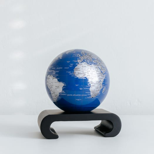 "Blue and Silver MOVA Globe 4.5"" with Arched Base Black"