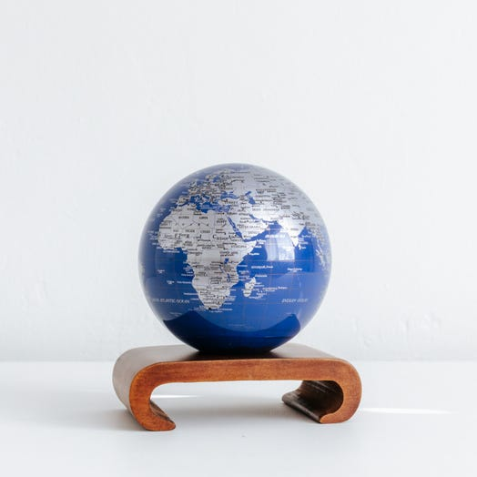 "Blue and Silver MOVA Globe 4.5"" with Arched Base Dark Wood"