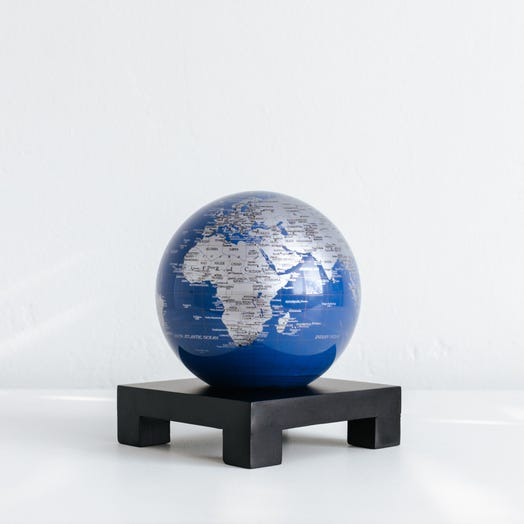 "Blue and Silver MOVA Globe 4.5"" with Square Base Black"