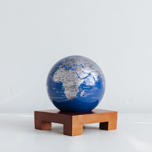 """Blue and Silver MOVA Globe 4.5"""" with Square Base Dark Wood"""
