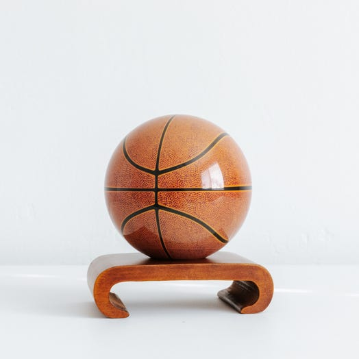 "Basketball MOVA Globe 4.5"" with Arched Base Dark Wood"