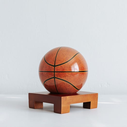 "Basketball MOVA Globe 4.5"" with Square Base Dark Wood"