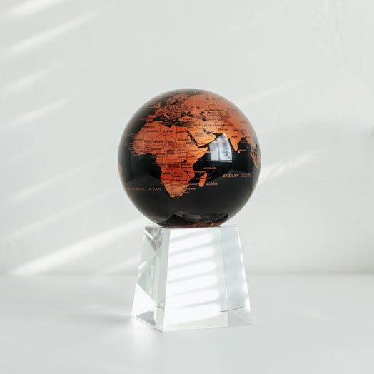 "Black and Copper MOVA Globe 4.5"" with Crystal Base Tall"