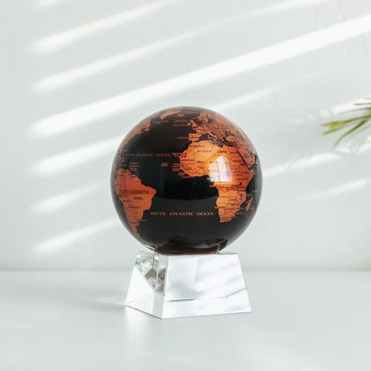 "Black and Copper MOVA Globe 4.5"" with Crystal Base"