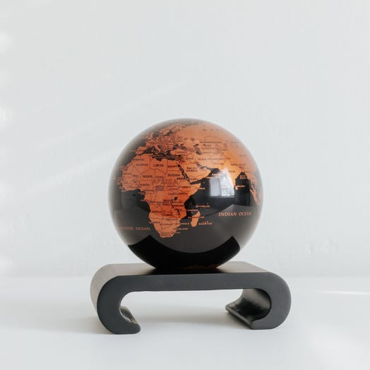 "Black and Copper MOVA Globe 4.5"" with Arched Base Black"